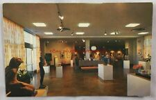 Vintage Postcard Lobby Reception Desk Fort Worth Art Center Sculptures Paintings