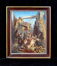 Large 20th Century Norse Mythology Valkryie Battle Nude Scene Oil Painting