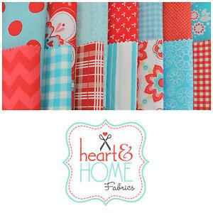 "Designer Fabric 5"" Squares Charm Pack, Aqua and Red, 56 pcs, 100% cotton"