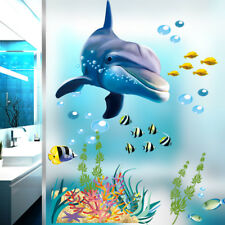 Dolphin Wall Sticker Ocean Waterproof Bathroom Kitchen 3D Decal Mural For Kids