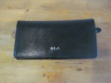 LAUREN by Ralph Lauren RLL Black Textured Leather Silver Zip Snap Closure Wallet
