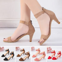 Women's Ladies Open Toe High Heels Ankle Strap Back Zip-up Sandals Pumps Shoes