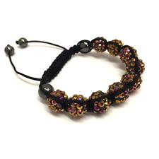 bracelet réglable shamballa marron 10 mm 9 boules disco perles bracelet en crist