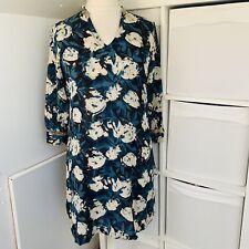 ANOKHI Blau & Creme Blumenmuster Tunika Top Gr. L Block Aufdruck Baumwollmischung Bluse