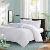BEAUTIFUL MODERN WHITE LIGHT TEAL BLUE RUCH FLUFFY RUFFLE TEXTURE COMFORTER SET