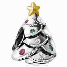 Christmas 925 European Silver Charm Bead Fit Sterling Bracelet Bangle Necklace