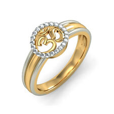 0.22 ct OM Diamond Mens Band Solid 14K Two Tone Gold Mens Rings Size W R U S