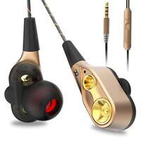 Double Unit Drive In Ear Earphone Bass Stereo Earphones With Mic Sport Earbuds
