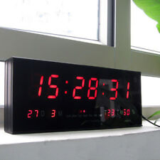 "15"" Large Digital LED Wall Clock Desk Alarm Calendar Temperature Humidity Date"