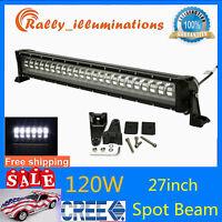 """7D Tri-Row 28/""""inch 396W CREE LED Light Spot/&Flood 4X4WD Offroad Jeep PK 180W 32/"""""""