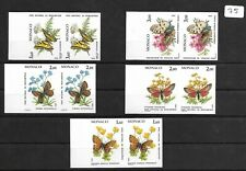 SMT, MONACO,1984, butterflies and plants, imperf set of 5 in paires, MNH € 250