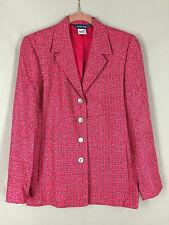 Austin Reed Blazer Jacket Lightweight Silk Pink Black 4 Button Side Pockets Sz 6
