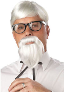 Mens Colonel Sanders Wig & Beard Fried Chicken Uncle Sam American Southern Gent