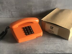 Original 70er Jahre Telefon Tel 791 Post Apparat in Orange Tastenetelefon #K20