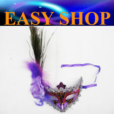 Purple Feather Mask Costume Masquerade Cosplay Party Venetian Ball Eye Women