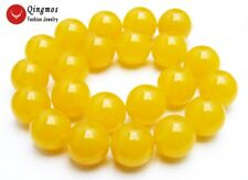 "18mm Round Yellow Natural Jade Loose Beads for Jewelry Making DIY 15"" Strand"