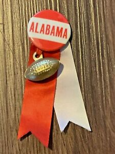 Vintage 1940s-50 Alabama Crimson Tide Pinback Button w/ Ribbons & Football Charm