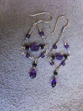 EARRINGS 925 sterling silver AMETHYST & black SPINEL gemstone chandelier
