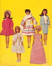 BARBIE Doll Knitting Pattern 3 Ply stole robe slippers Evening Gown Coat 30 cms