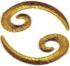 """1.5"""" Gold Scroll Cancer 69 Embroidery Patch"""