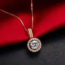 1.50 Carat D/VVS1 Diamond 14K Solid Yellow Gold Over Halo Pendant and Necklace