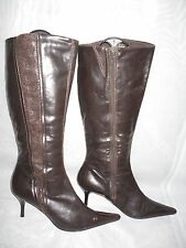 FAITH WOMENS DARK BROWN ZIP SYNTHETIC SLIM  KNEE HIGH BOOTS Size:6.5/40(WB611)