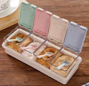 Kitchen Seasoning Box Spice Jars Condiment Sugar Salt Storage Container + Spoons