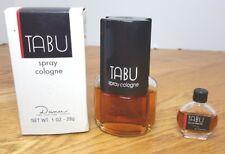 Lot of 2 Tabu by Dana Vintage 1 oz Spray Cologne + 1/8 oz Eau de Parfum 80% Full