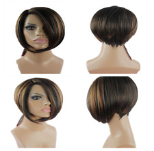 Brown Short Straight Wig Synthetic Wig Fashion Bob Style Ladies Womens Hair UK