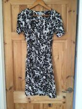 H&M XS Beige Black Beige Black Short Sleeve Wrap Effect Dress