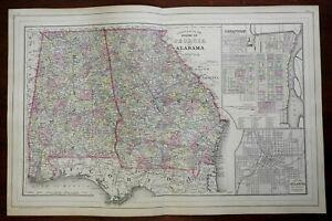 Georgia & Alabama with Savannah & Atlanta city plans 1884 large Mitchell map