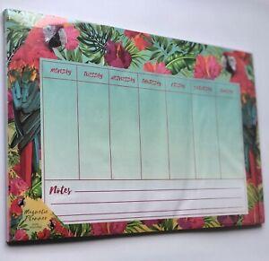 🦜 Parrots Magnetic Days Of Week Fridge Planner Memo Schedule Message Organiser