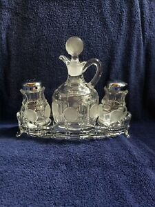 Vintage Fostoria Coin Pattern 4pc Condiment Set Cruet Shakers Tray