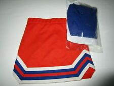 "Child Girls Cheerleader Uniform Outfit Blue Orange Top 28"" Top Rwb Skirt Size 8"