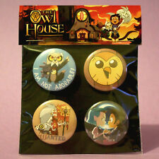 The Owl House Badges, badge set of 4x 32mm metal pin back buttons. Luz & Amity