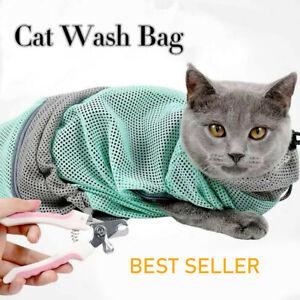 Cat Grooming Bag Kitten Wash Polyester Mesh Scratch Bite Resistant Nail Bath