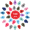 100pcs Toggle Cord Stopper Locks End Drawstring Plastic Spring Loaded With Hole