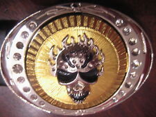 Skull in Gold Tone Buckle on Black Leather Belt for Women GOTH