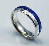 HIS HER Men WOMEN Wedding Engagement ring 316l steel Plain Polished  blue band