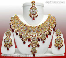 Party Wear Gole Tikka Jewelry Handmade Lovely Necklace Earrings Set 806 Maroon