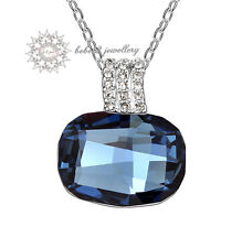 18K White Gold Plated/Blue Crystal Square Pendant Necklace/RGN210S