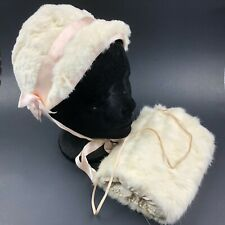 Vintage 1950s Girls Bonnet Hat & Muff Set White Rabbit Pink Satin Lined Ties Mcm