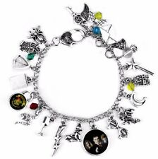 Harry Potter Themed Silvertone Metal and Glass Dome Charms Bracelet