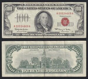 United States 100 Dollars Red Seal 1966 BB VF+ A-01