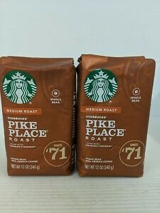 2 Bags Starbucks Pike Place Medium Roast Whole Bean Coffee 12 Oz Each.