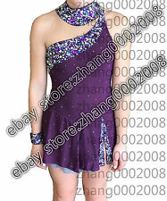 Ice skating dress.Dark purple Competition Figure Skating / Baton Twirling custom