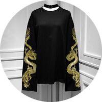 Sweet Lolita Harajuku Punk Long Sleeve Dragon Embroidery T-shirt Gothic Tops#A41