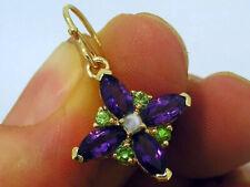 EP017 Genuine 9K Gold NATURAL Amethyst & Tsavorite Pearl Suffragette Earrings