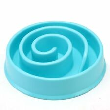 Pet Bowl Dog Cat Interactive Slow Food Feeder Healthy Gulp Feed Dish Large Blue