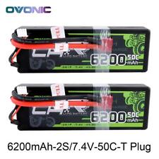 2X 50C 6200mAh 7.4V 2S Lipo Battery Pack Deans Plug For RC Car Truck Buggy Hobby